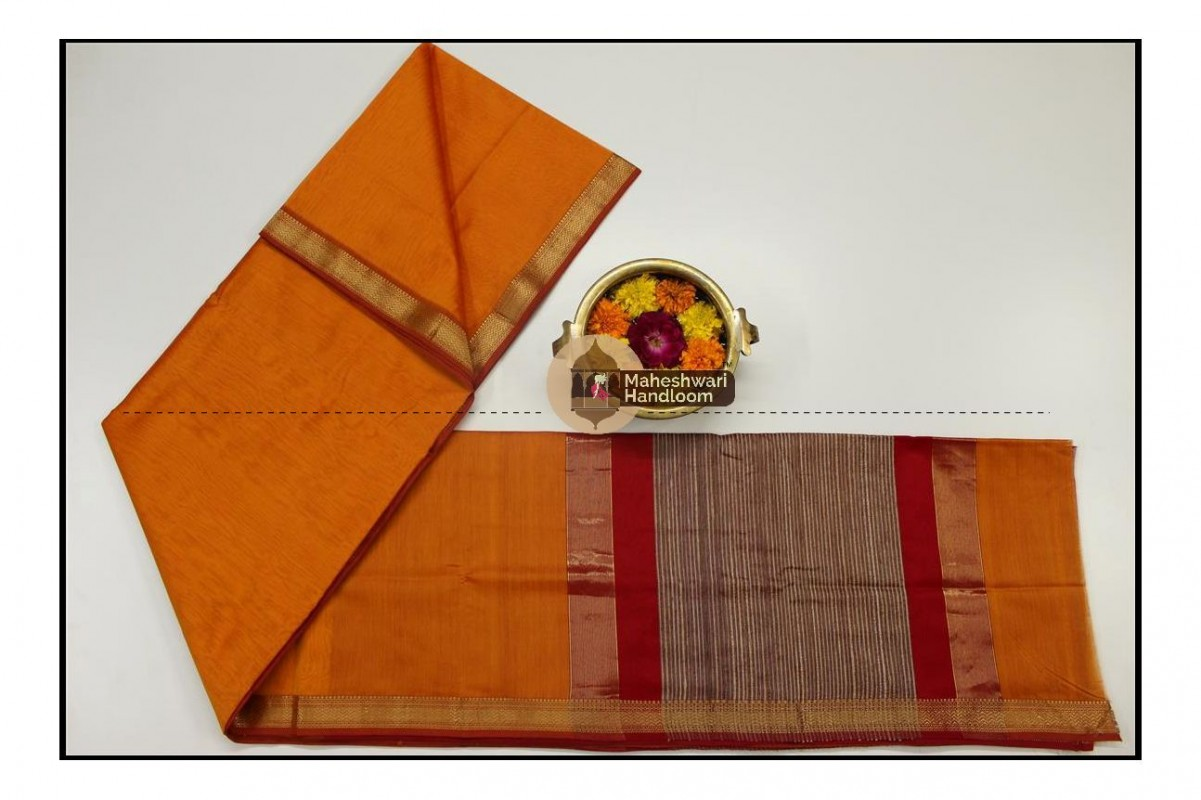 Maheshwari Orange Gicha Pallu Saree
