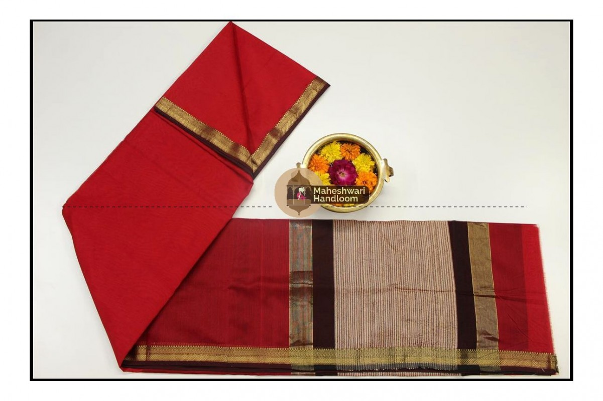 Maheshwari Red Gicha Pallu Saree