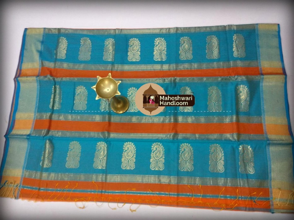 Maheshwari Orange Buta Pallu Saree