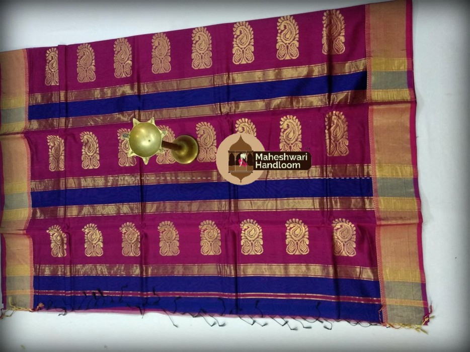 Maheshwari Royal Blue Buta Pallu Saree