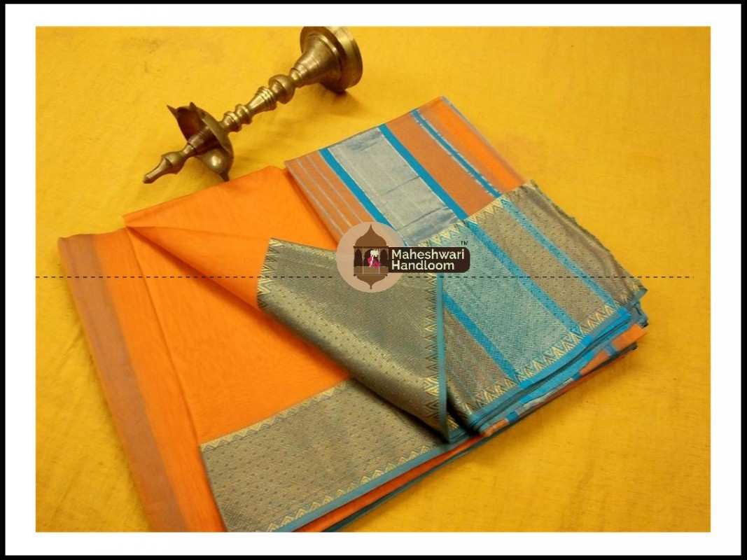 Maheshwari Orange Jari skirt Temple Border saree
