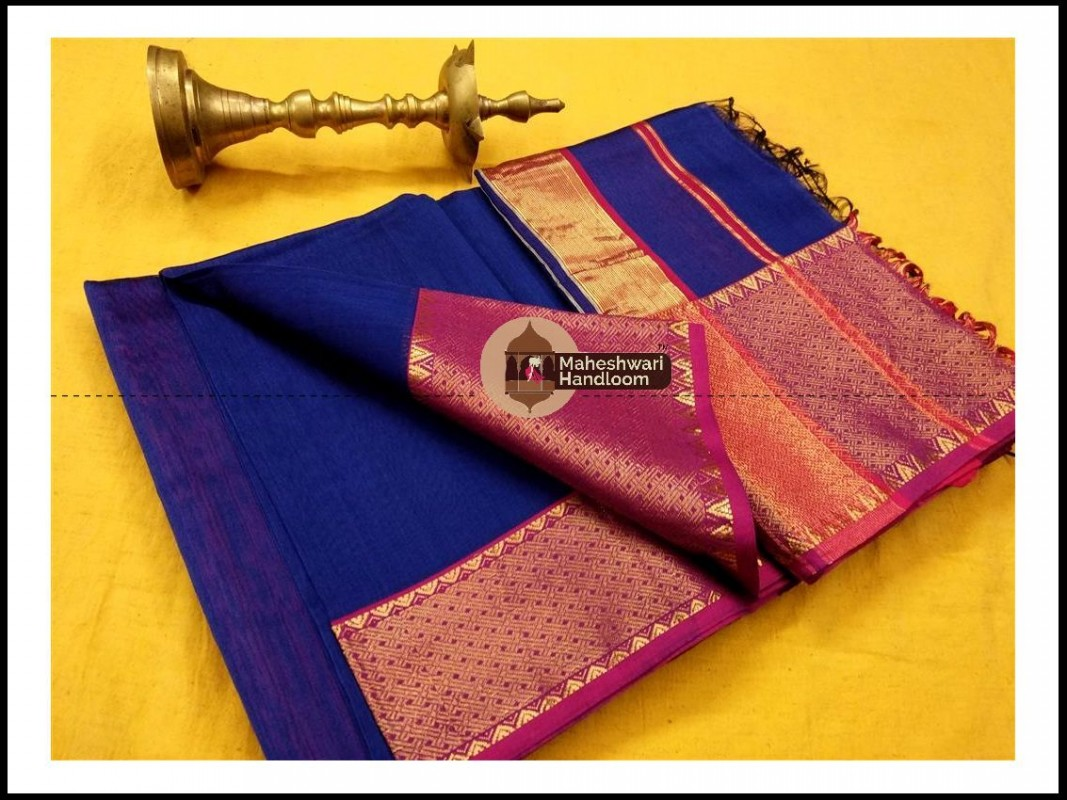 Maheshwari Blue Jari skirt Temple Border saree