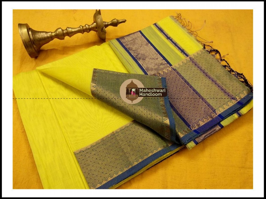Maheshwari Light Yellow Jari skirt Temple Border saree