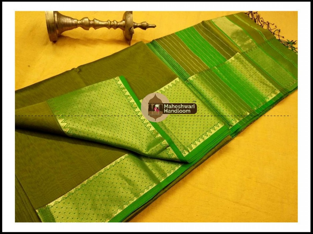 Maheshwari Mehandi Green Jari skirt Temple Border saree