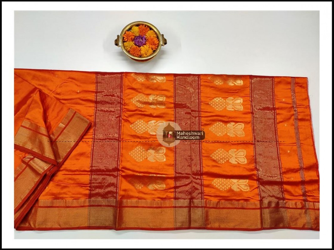Maheshwari Orange Pure Silk Saree With Buta Buti Weaving