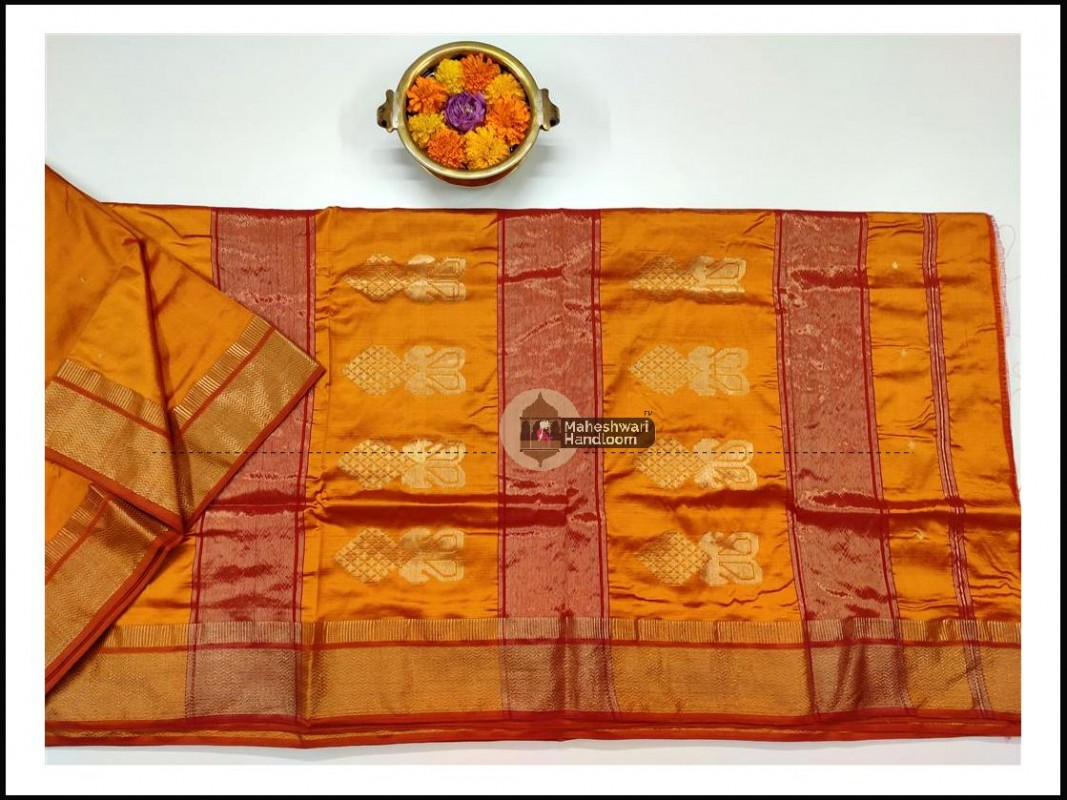 Maheshwari Golden Yellow Pure Silk Saree with Buta Buti Weaving
