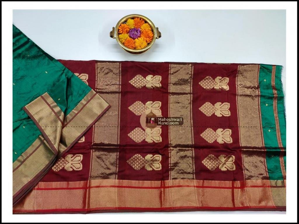 Maheshwari Chutney Green Pure Silk Saree With Buta Buti Weaving