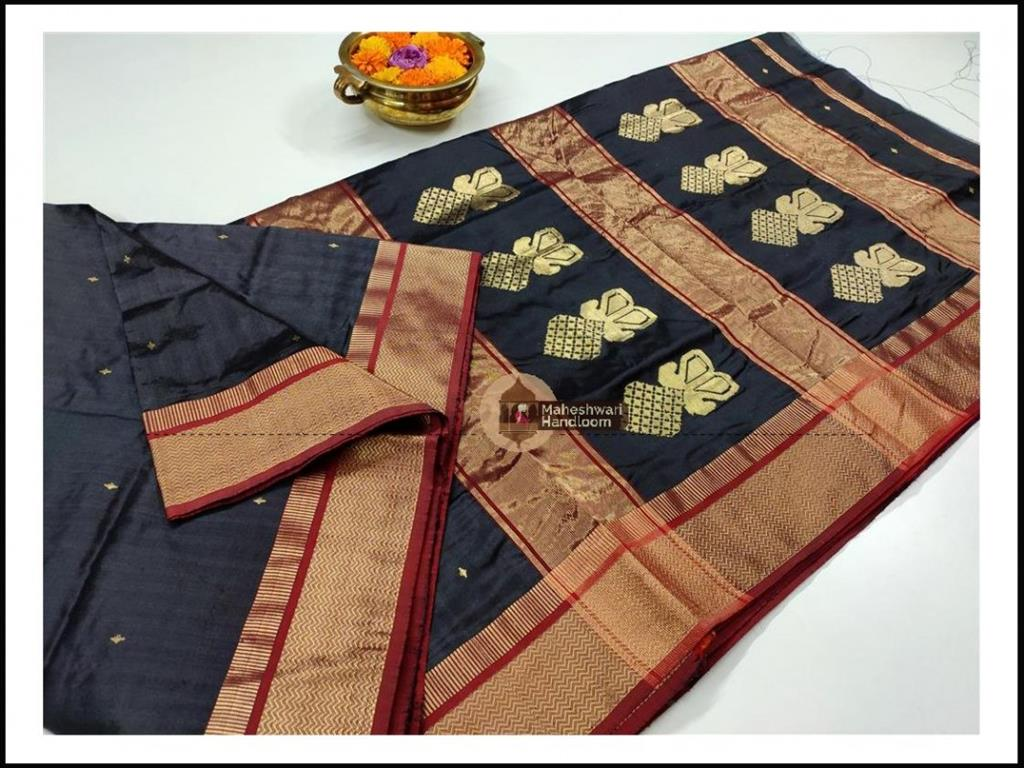 Maheshwari Charcol Black Pure Silk Saree With Buta Buti Weaving