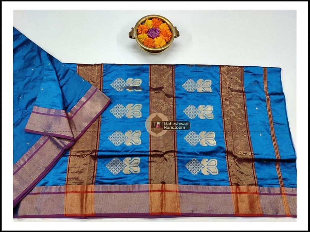 Maheshwari Firozi Pure Silk Saree With Buta Buti Weaving