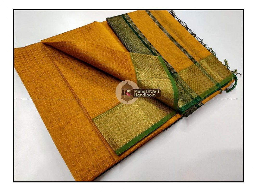 Maheshwari Yellow Jari Checkered Weaving Saree