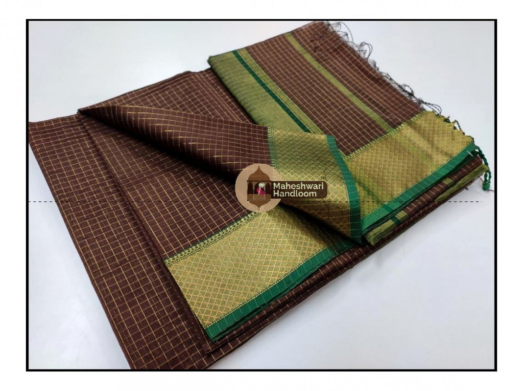 Maheshwari chocolate Brown Jari Checkered Weaving Saree