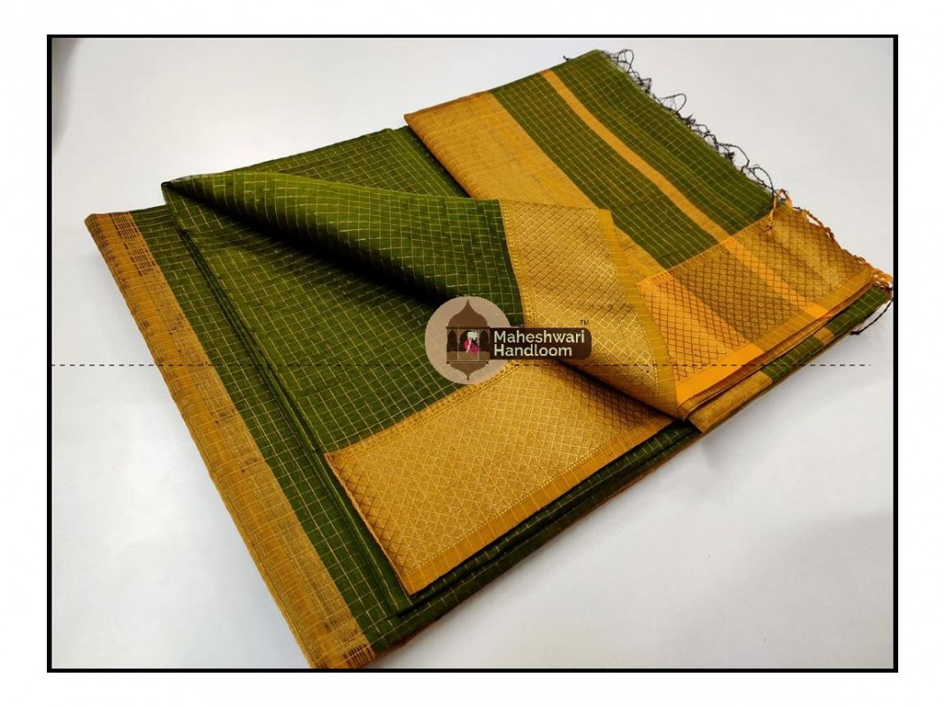 Maheshwari  Green Jari Checkered Weaving Saree