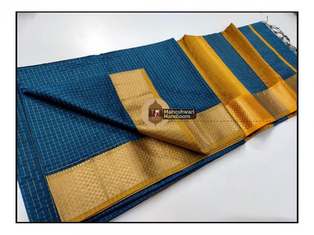 Maheshwari Rama Green Jari Checkered Weaving Saree