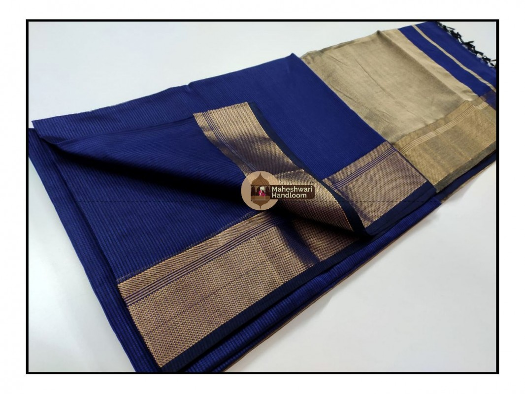 Maheshwari Blue Checks Fabric Saree