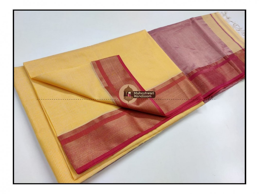 Maheshwari Cream Yellow Checks Fabric Saree