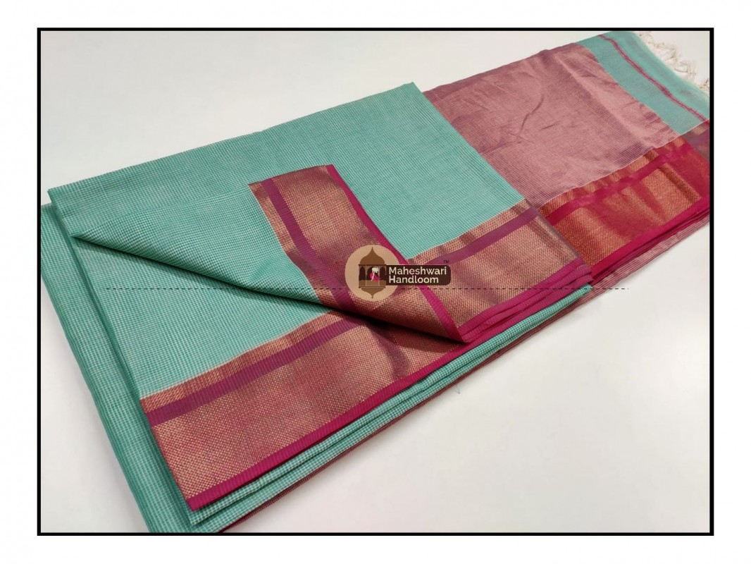 Maheshwari Sea Green Checks Fabric Saree