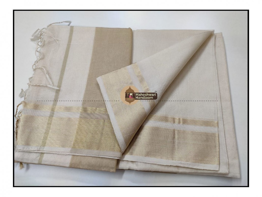 Maheshwari Offwhite Checks Fabric Saree