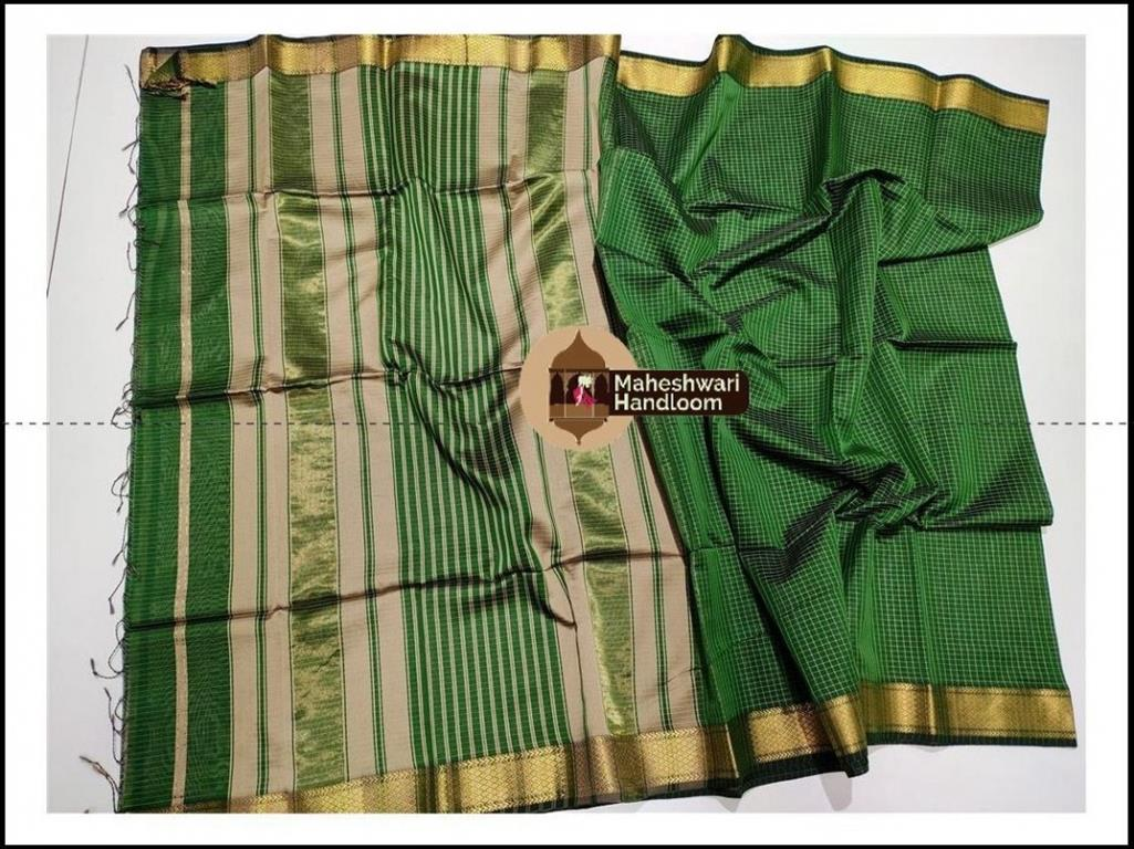 Maheshwari Green Checks Body Saree