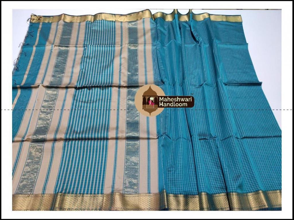 Maheshwari Rama Green Jari Checks Body Saree