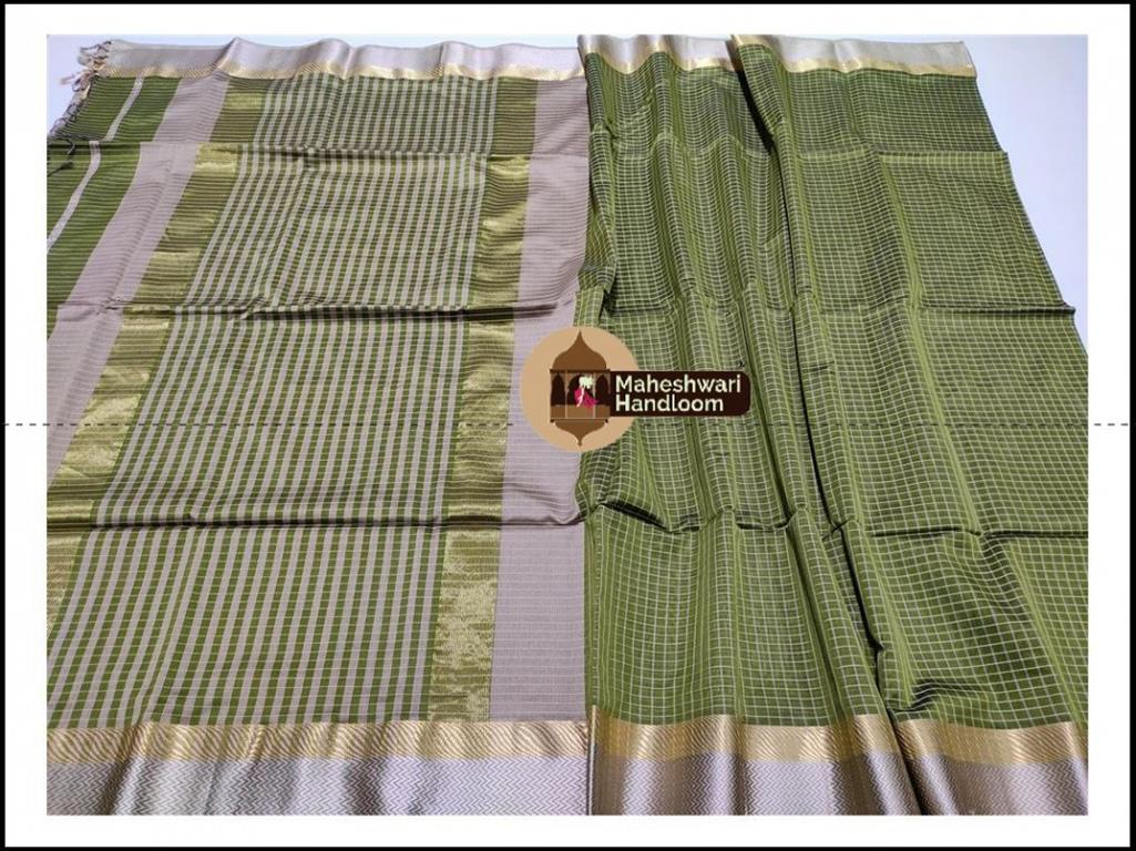 Maheshwari Mehandi Green Jari Checks Body Saree
