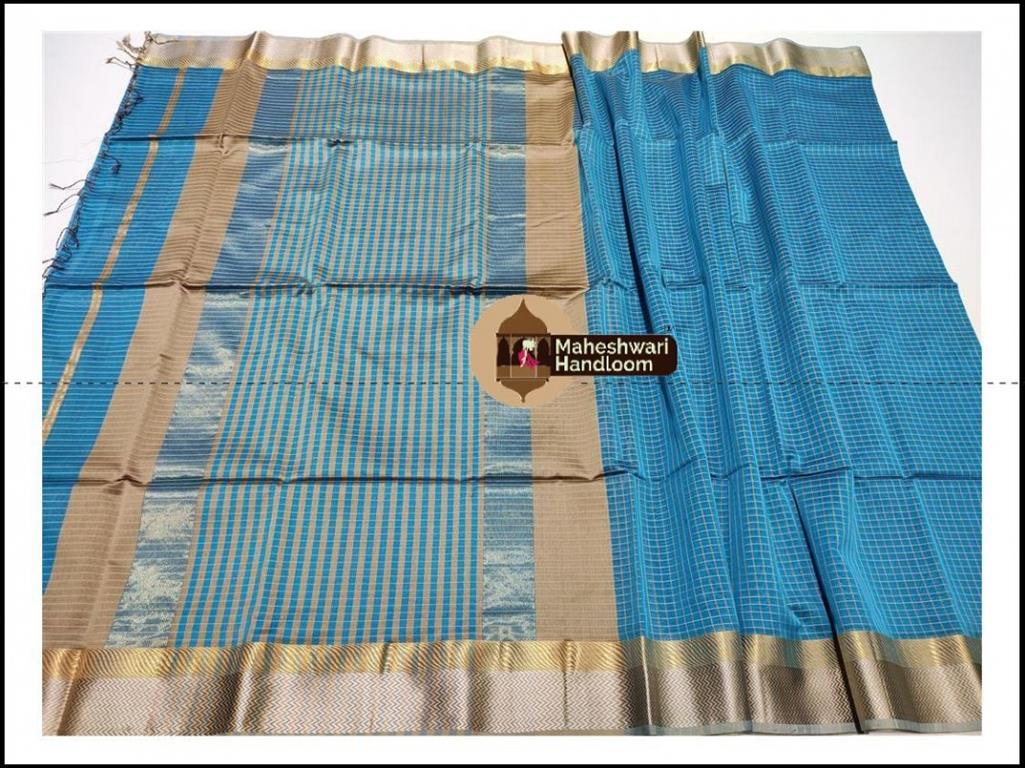 Maheshwari Blue Jari Checks Body Saree