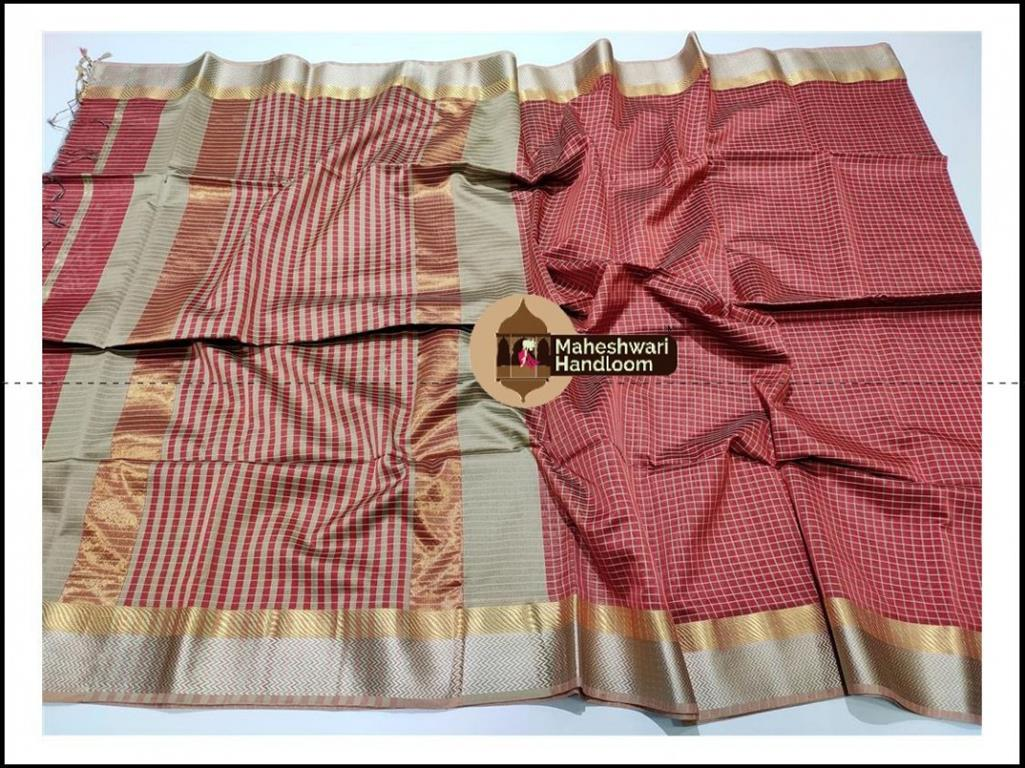 Maheshwari Rust Jari Checks Body Saree