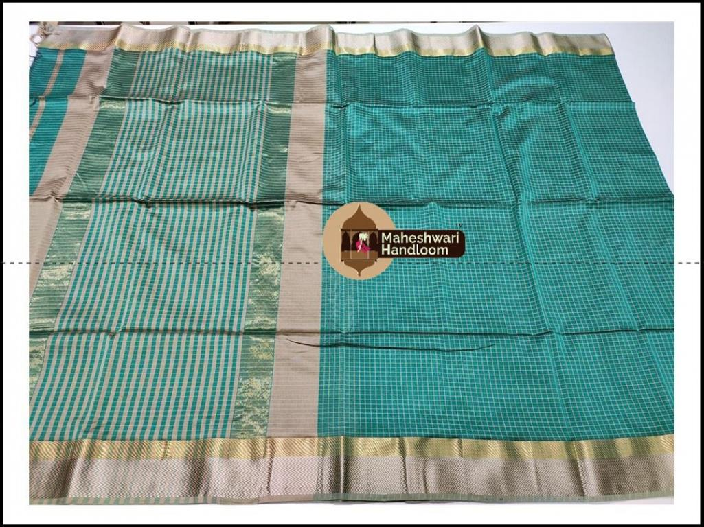 Maheshwari Sea Green Jari Checks Body Saree
