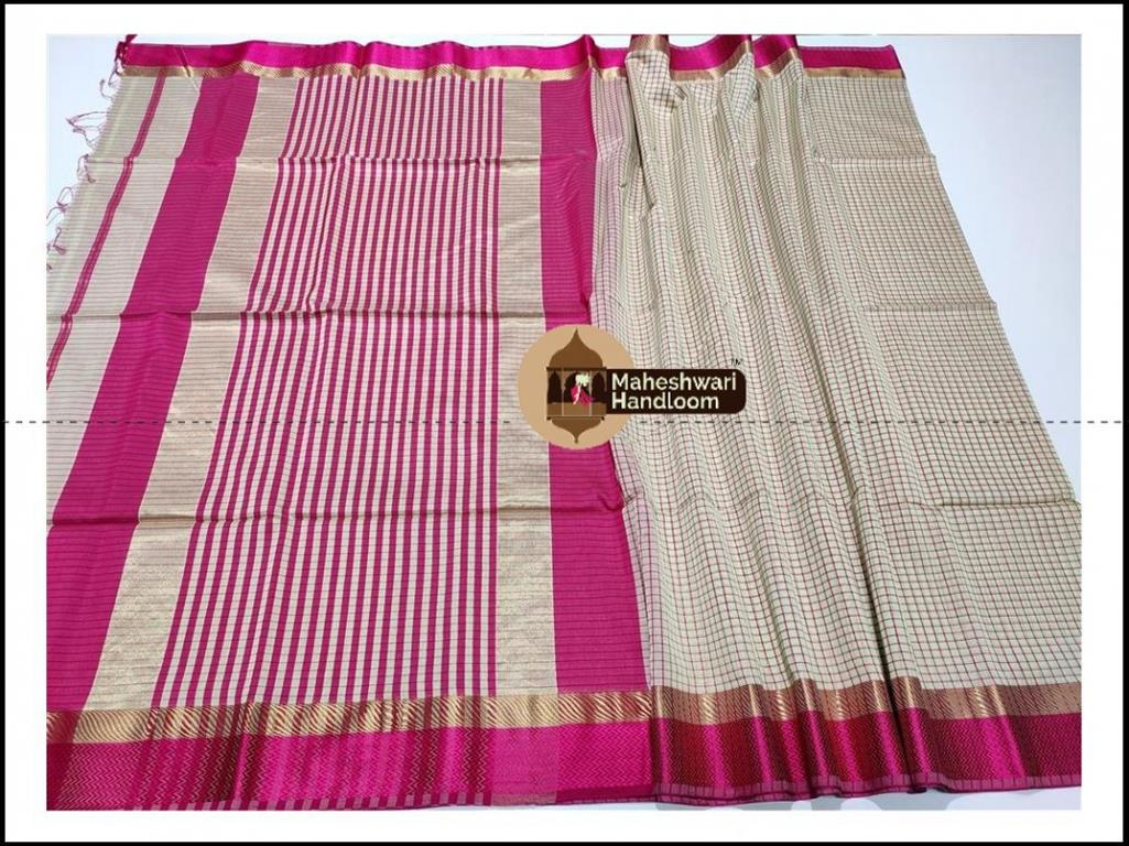 Maheshwari Tussar Grey Checks Body Saree