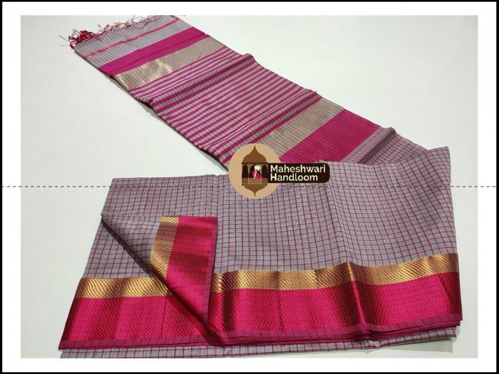 Maheshwari Purple Grey Checks Body Saree