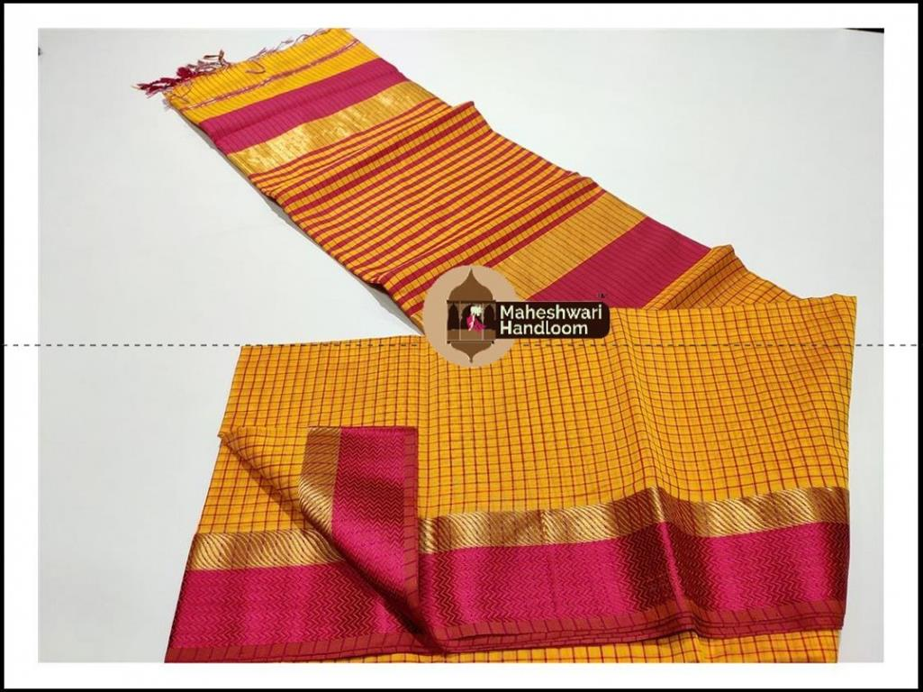 Maheshwari Yellow Checks Body Saree