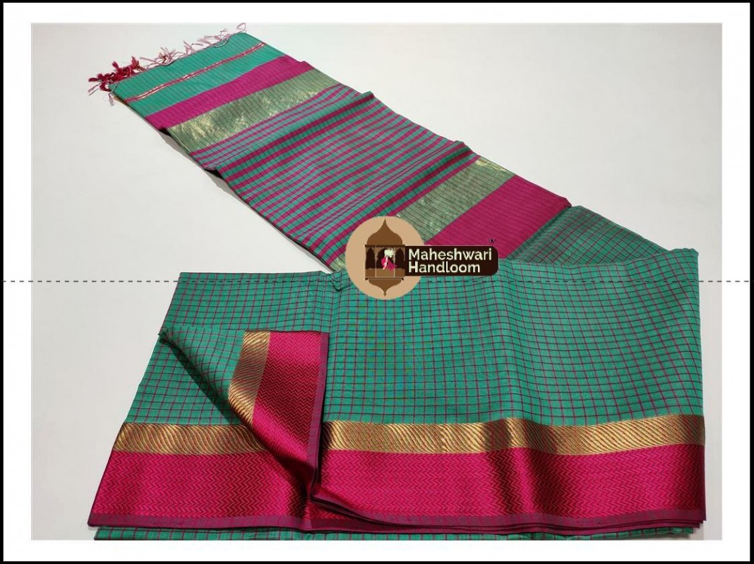 Maheshwari Sea Green Checks Body Saree