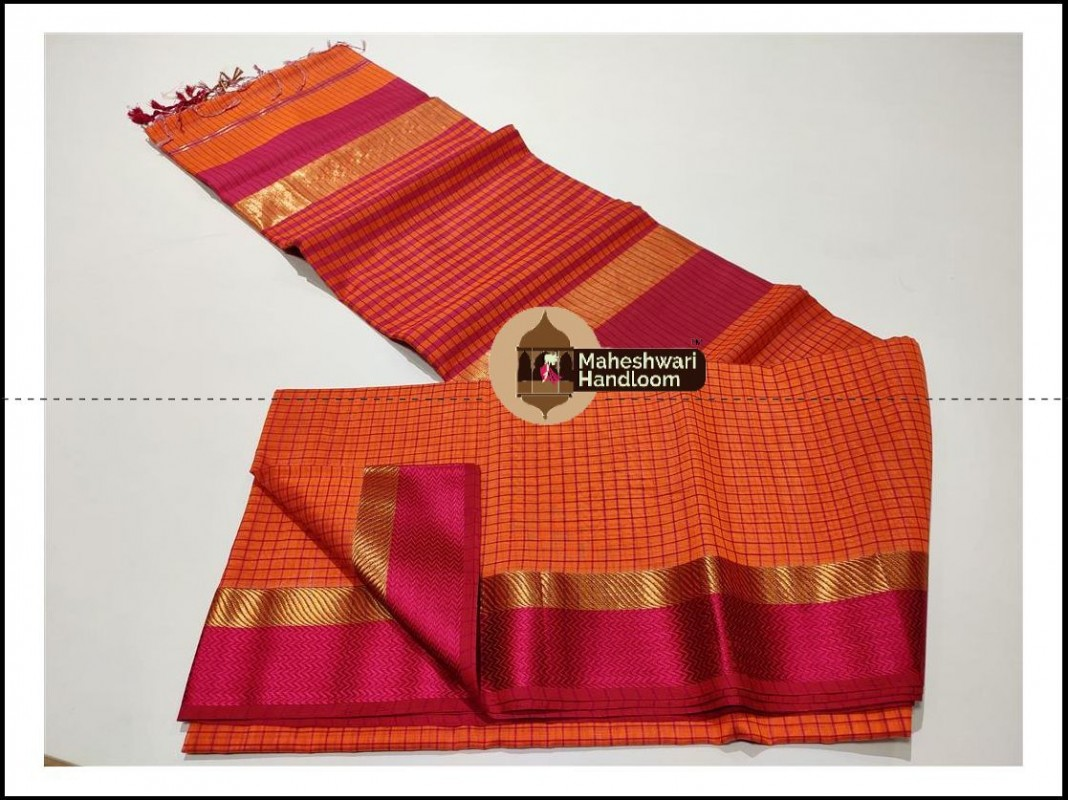 Maheshwari Mustard Orange Checks Body Saree
