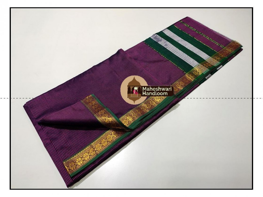 Maheshwari Purple Garbh Reshmi Saree