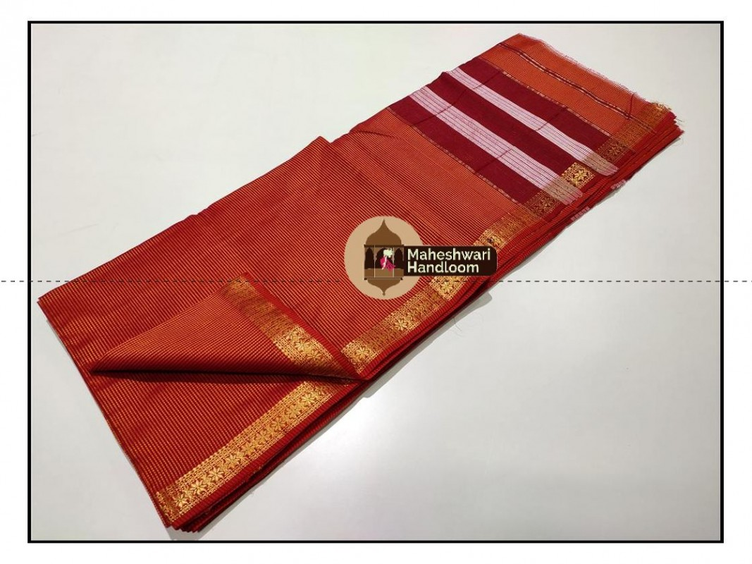 Maheshwari Orange Garbh Reshmi Saree