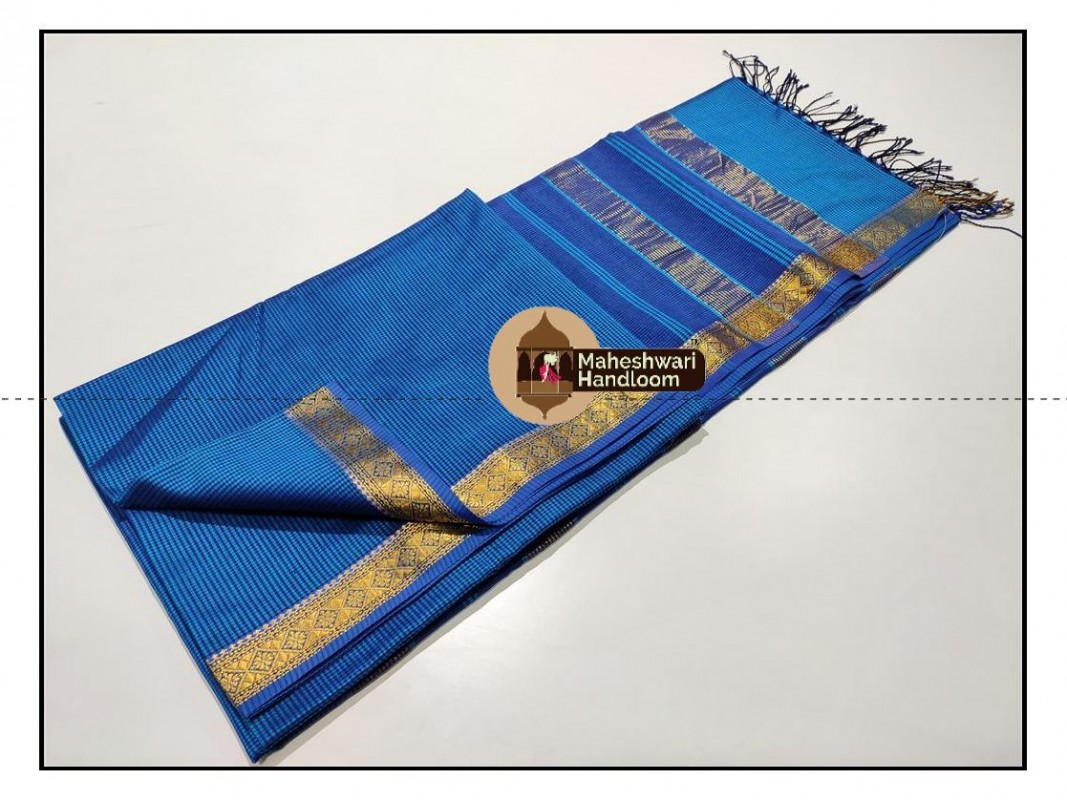 Maheshwari Royal Blue Garbh Reshmi Saree