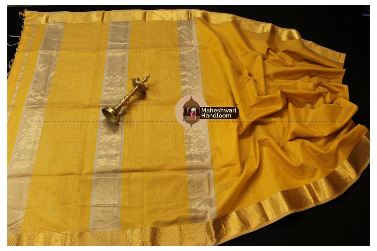 Maheshwari Mustard Yellow Self Checks Body Saree