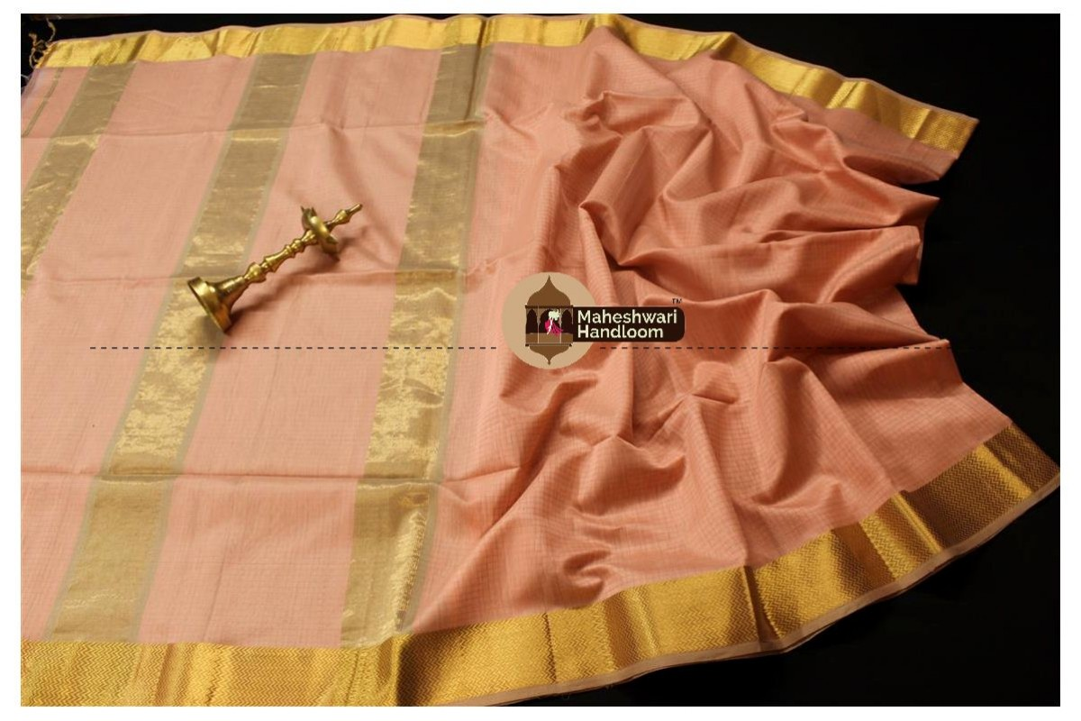Maheshwari Light Peach Self Checks Body Saree