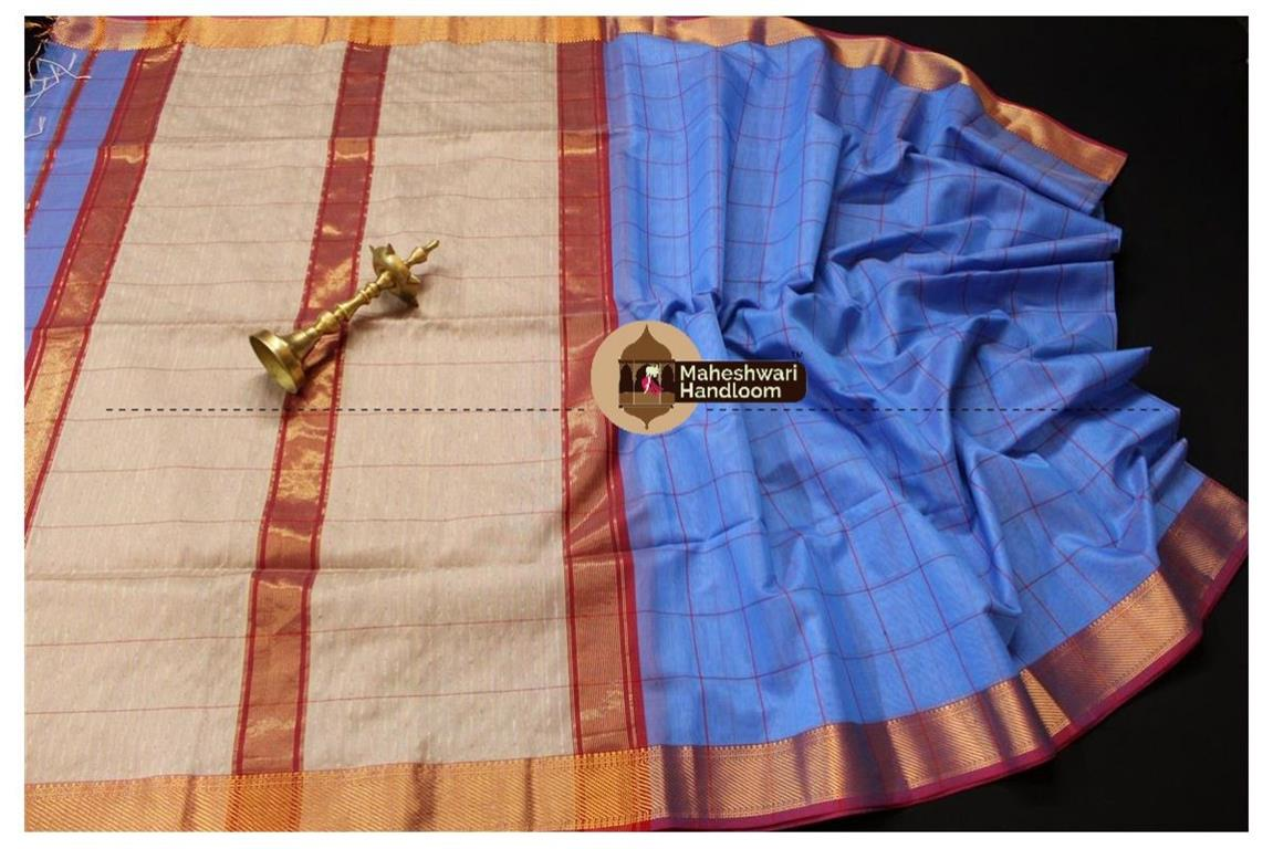 Maheshwari German Blue Self Checks Body Saree