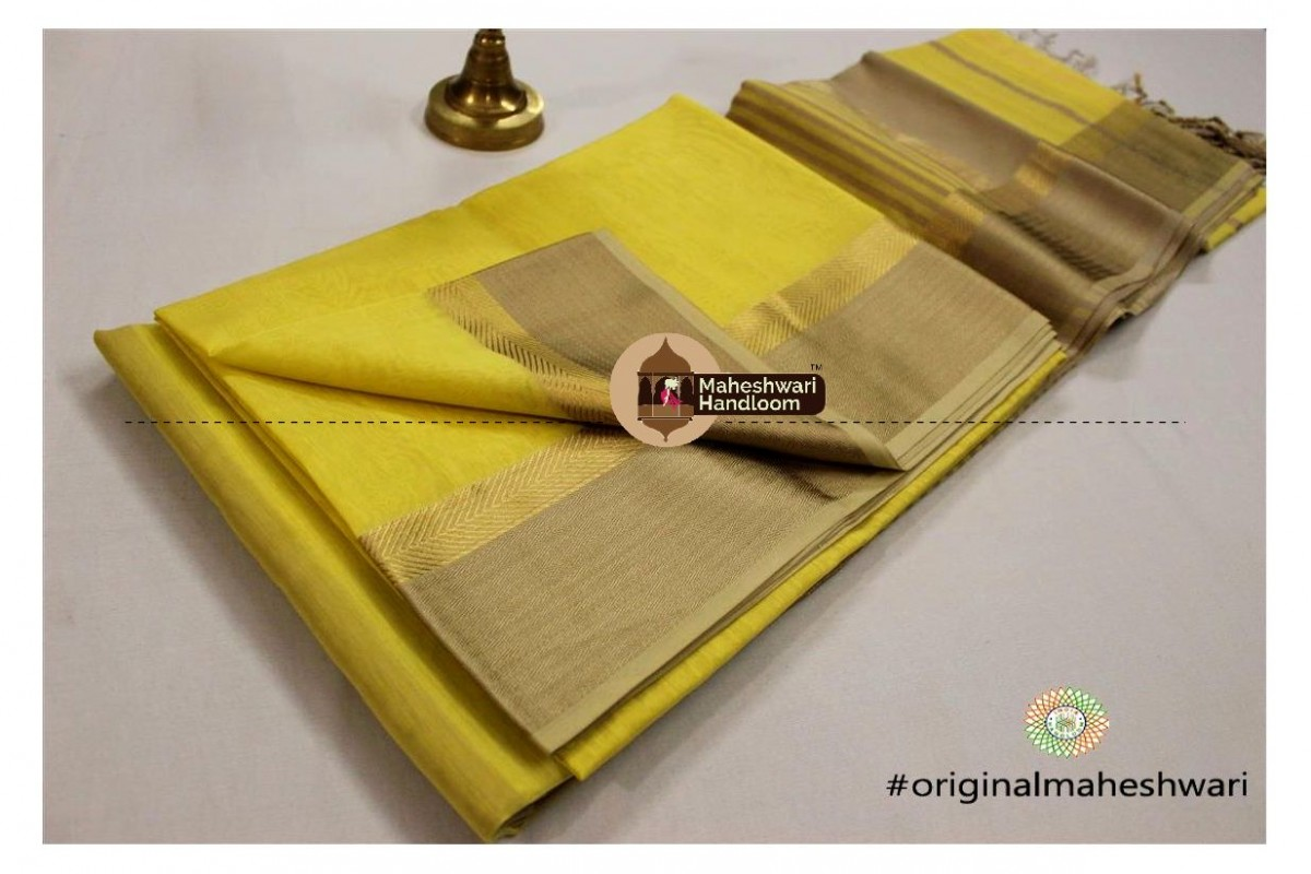 Maheshwari Light Yellow Jari Resham saree