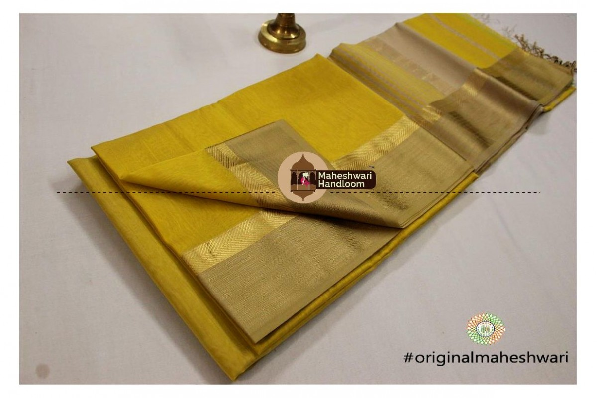 Maheshwari Yellow Green Jari Resham saree