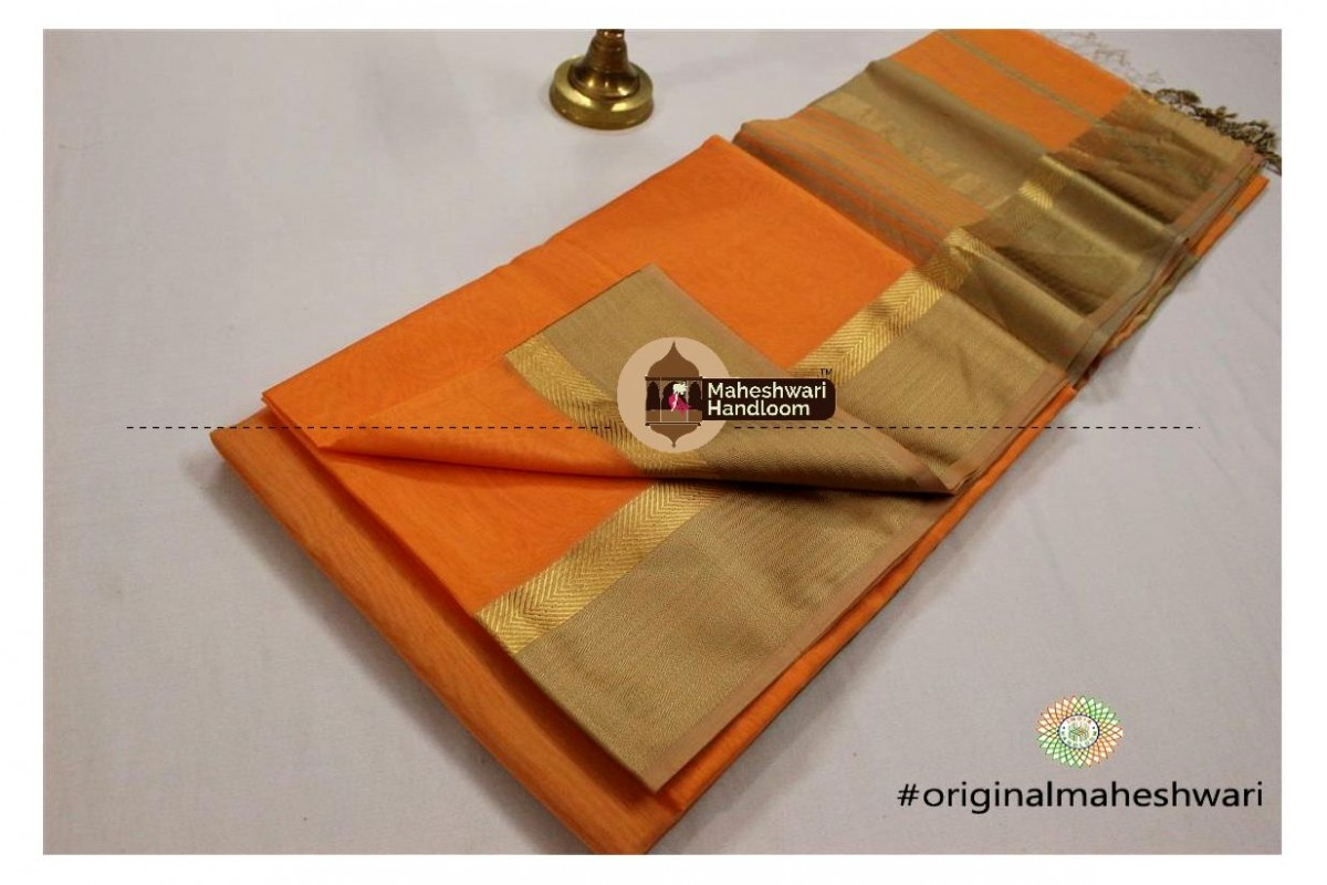 Maheshwari Light Orange Jari Resham saree