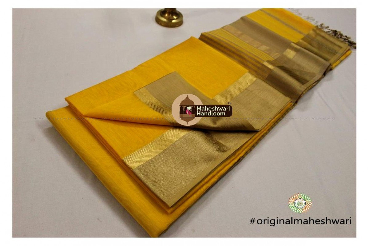 Maheshwari Dark Yellow Jari Resham saree