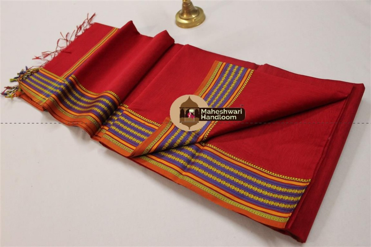 Maheshwari Red Resham Border Saree