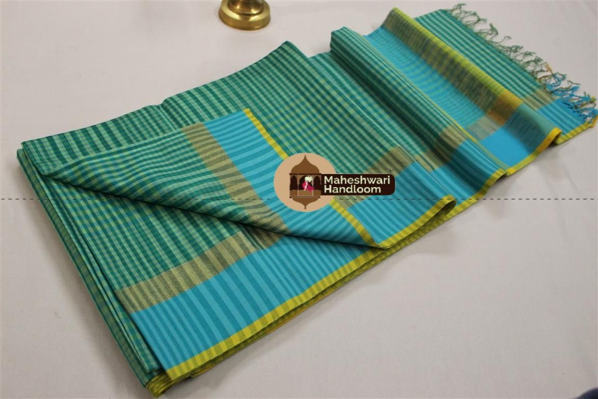 Maheshwari Sea Green Resham Border Saree