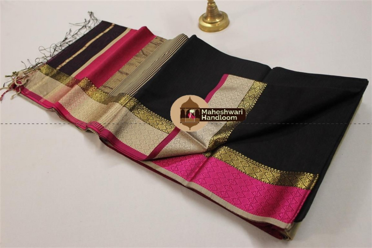 Maheshwari Black Resham Border Saree