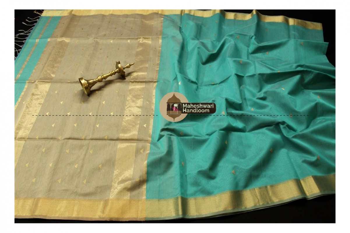 Maheshwari Sea Green Tringle Buti Weaving saree