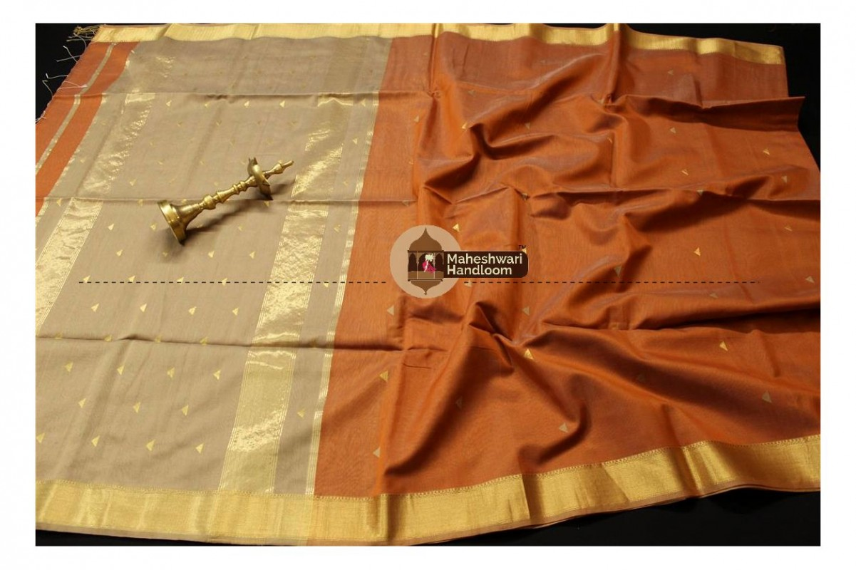 Maheshwari Rust Colour Tringle Buti Weaving saree