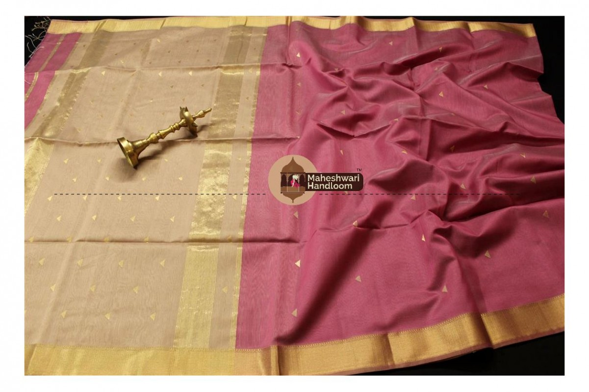 Maheshwari Baby Pink Tringle Buti Weaving saree