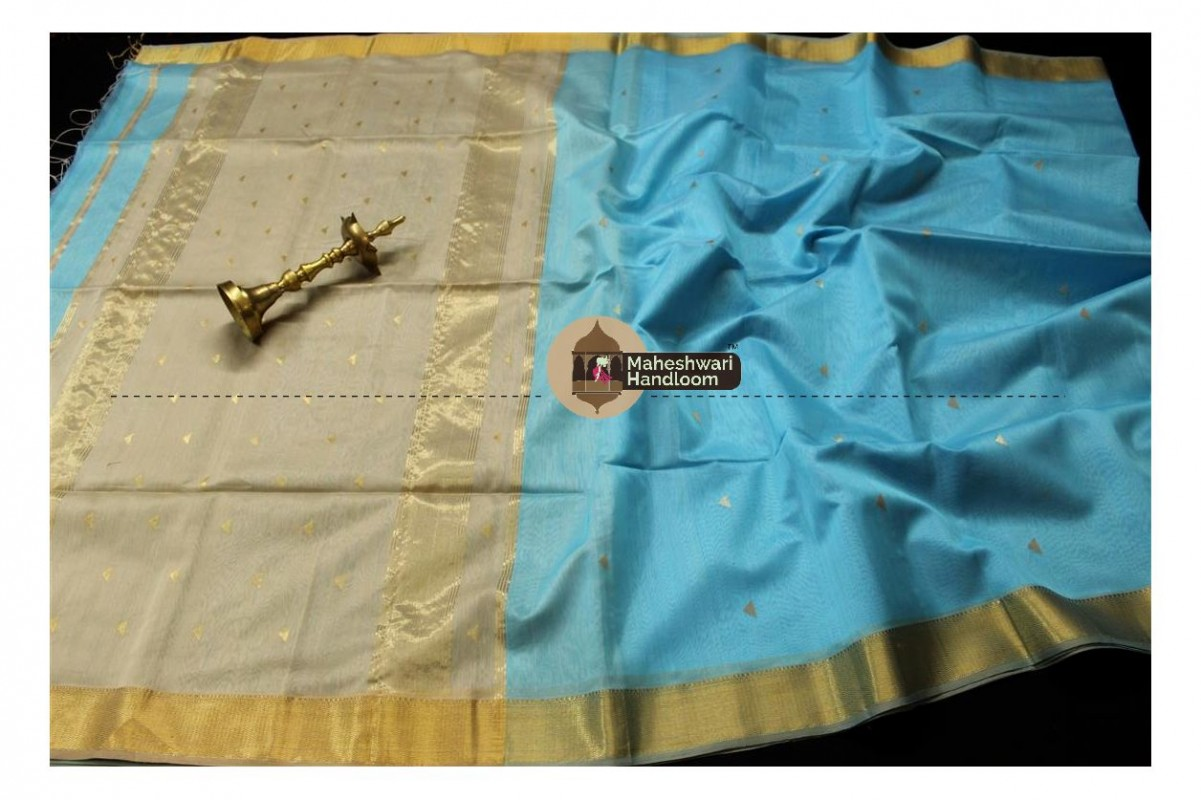 Maheshwari Sea Blue Tringle Buti Weaving saree