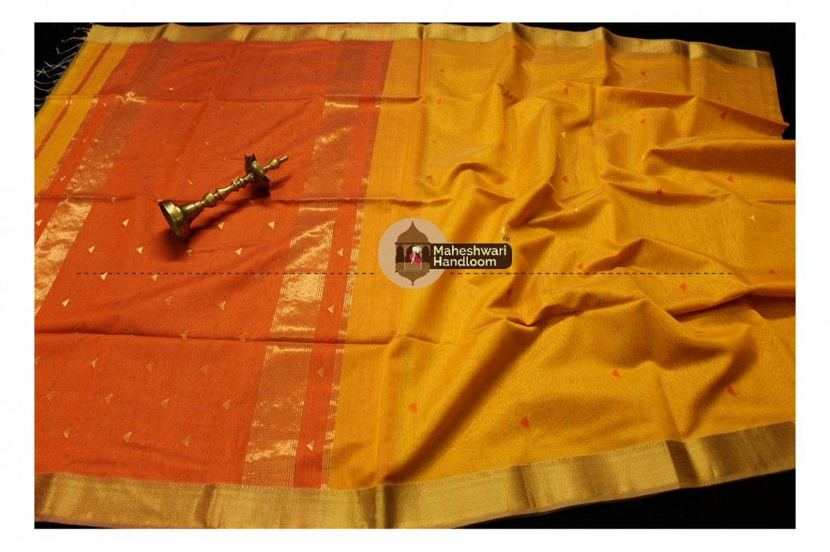 Maheshwari Golden Yellow Tringle Buti Weaving saree